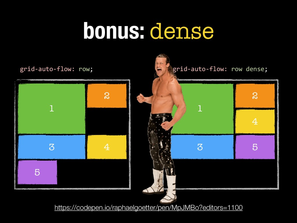 1 2 3 bonus: dense 4 5 grid-auto-flow: row dens...