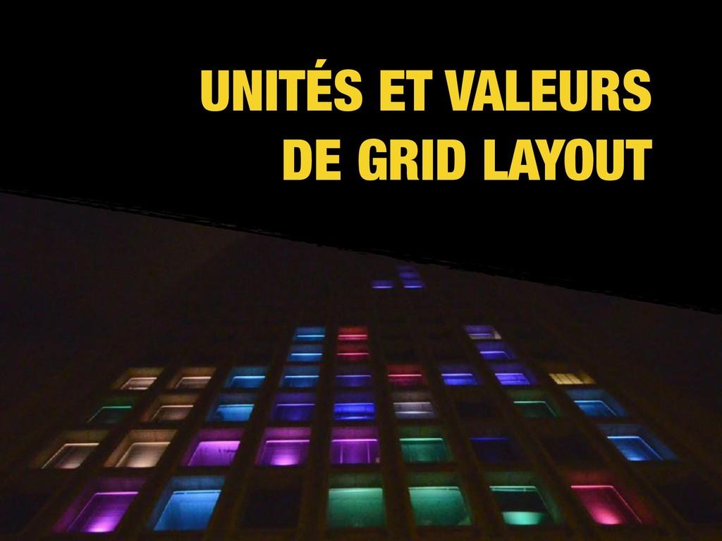 UNITÉS ET VALEURS DE GRID LAYOUT