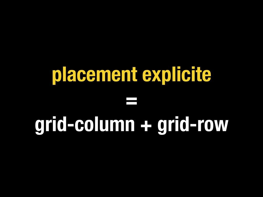 placement explicite = grid-column + grid-row
