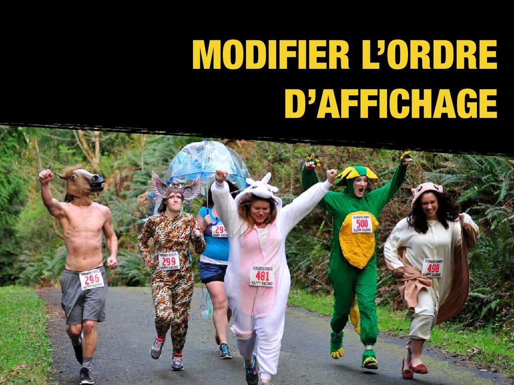 MODIFIER L'ORDRE D'AFFICHAGE