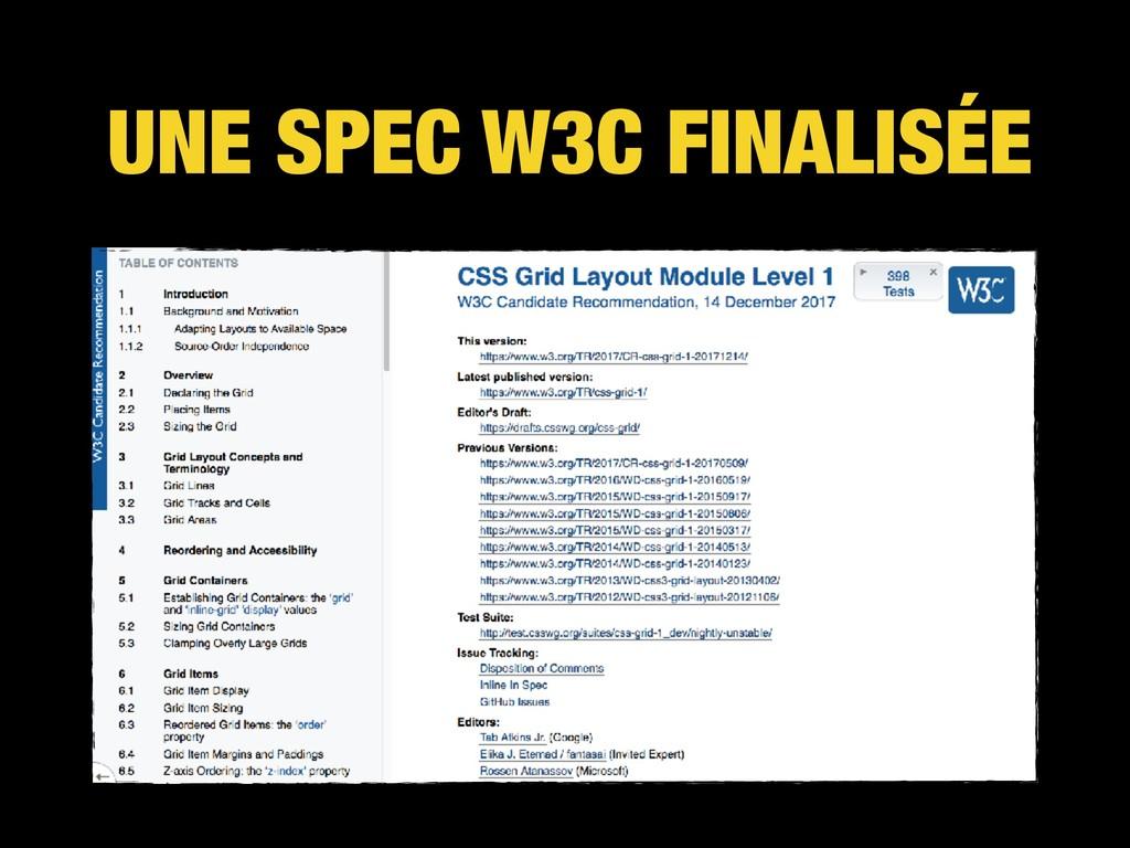 UNE SPEC W3C FINALISÉE