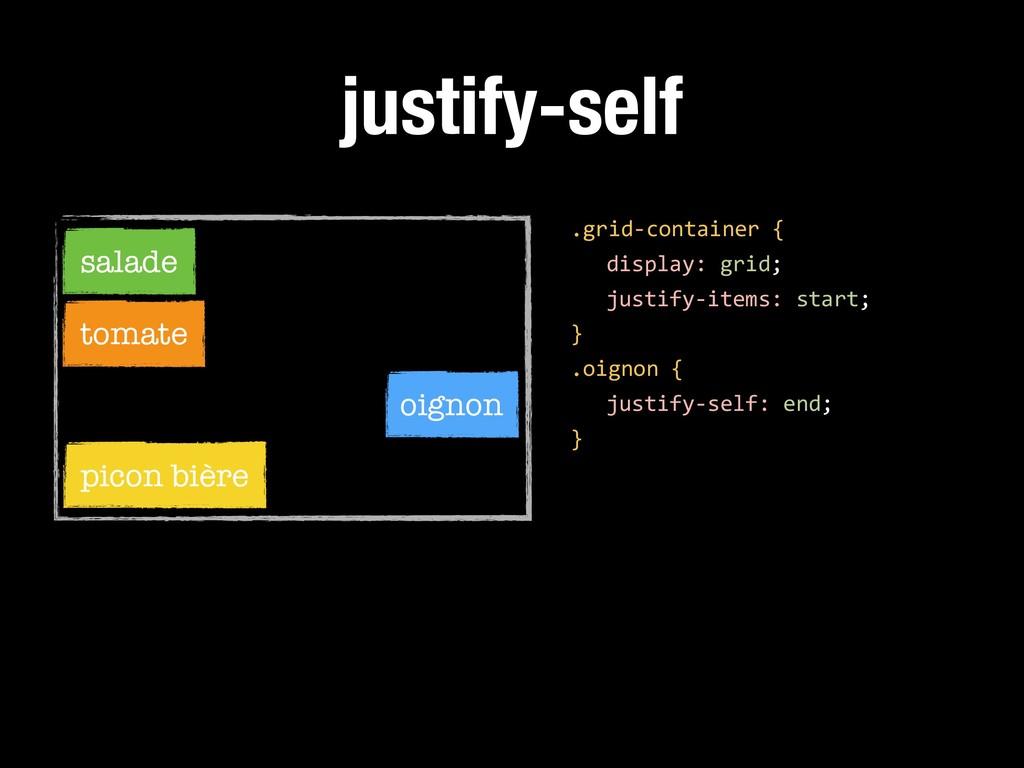 justify-self .grid-container { display: grid; j...
