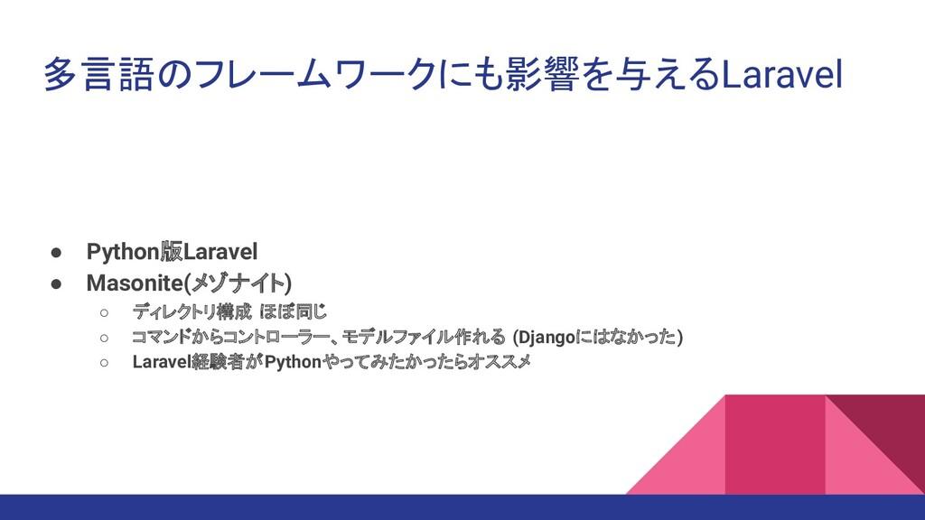 多言語のフレームワークにも影響を与えるLaravel ● Python版Laravel ● M...