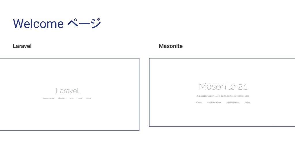 Welcome ページ Laravel Masonite