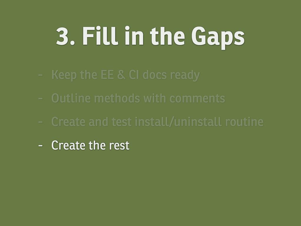 - Keep the EE & CI docs ready - Outline methods...