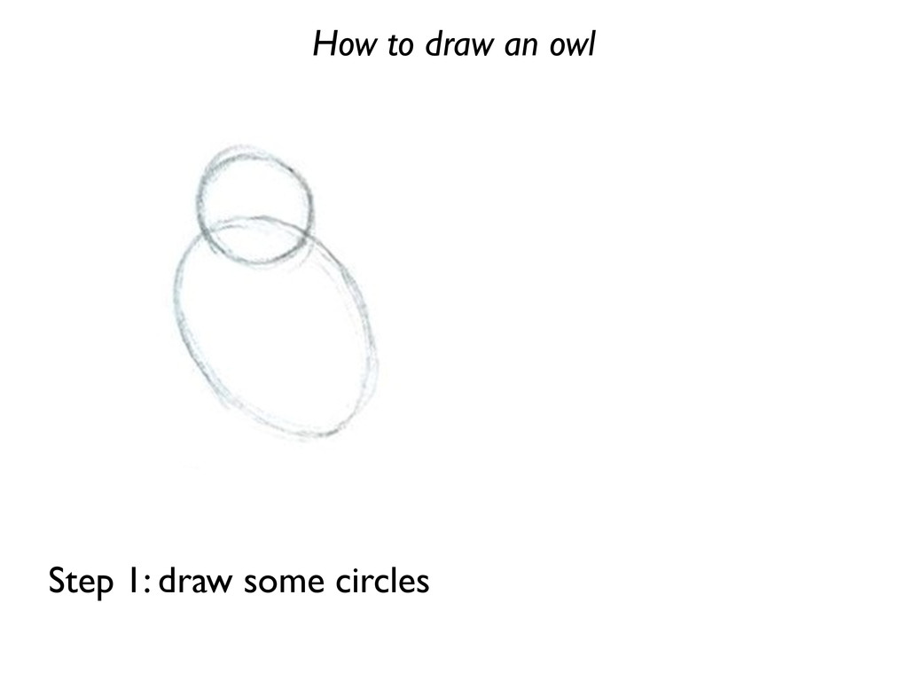 How to draw an owl Step 1: draw some circles