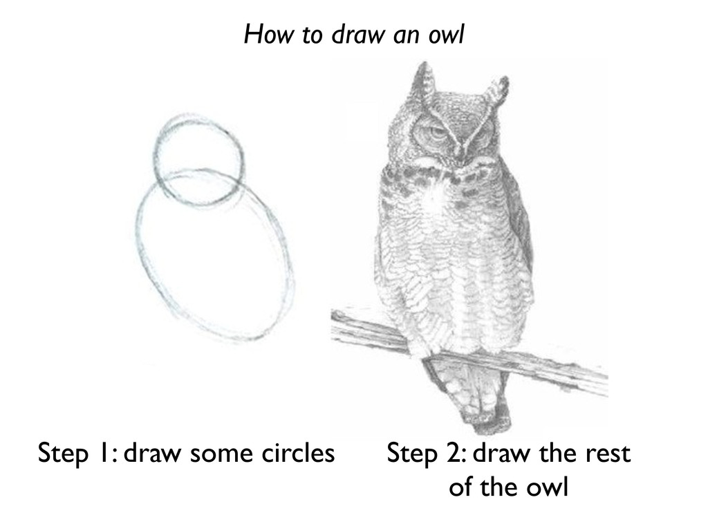 How to draw an owl Step 1: draw some circles St...