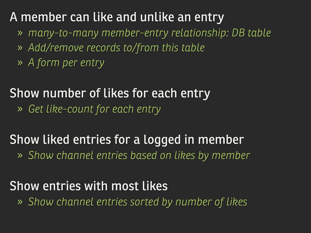 A member can like and unlike an entry » many-to...