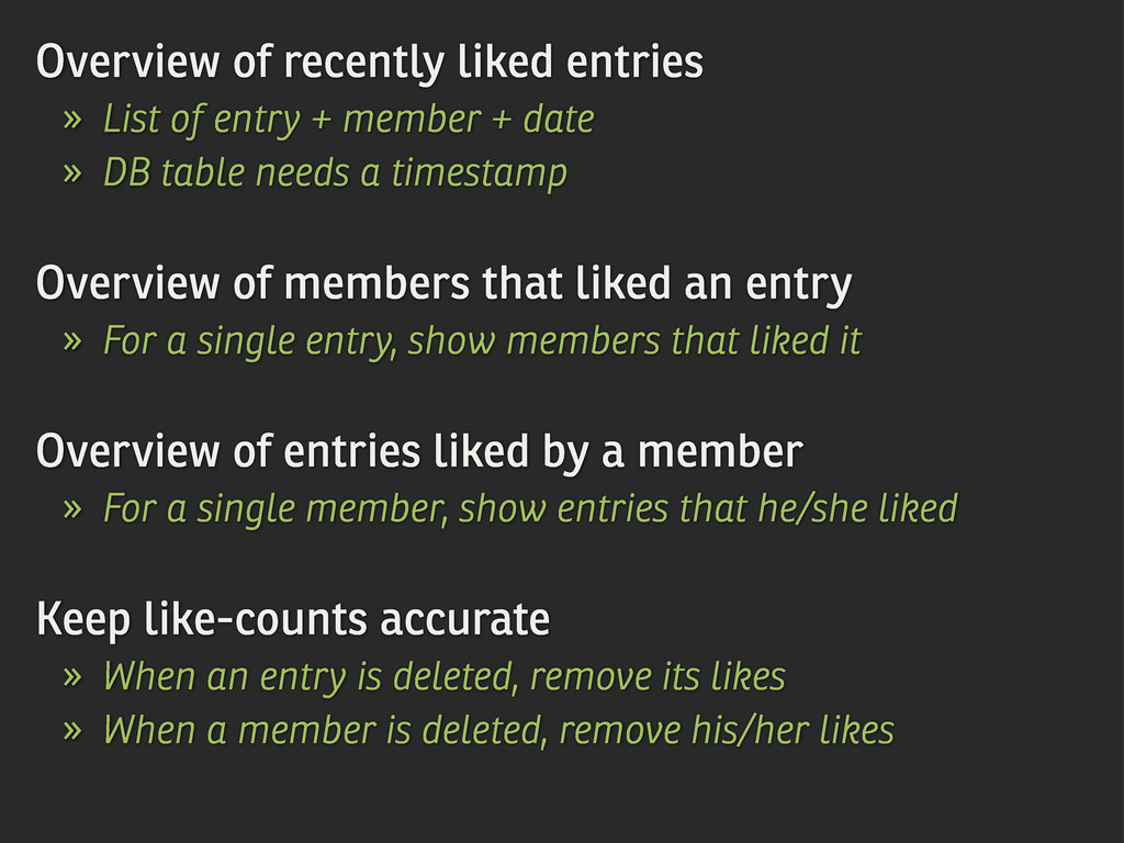 Overview of recently liked entries » List of en...