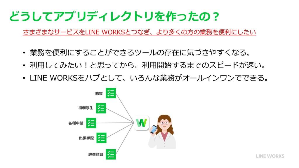 どうしてアプリディレクトリを作ったの? さまざまなサービスをLINE WORKSとつなぎ、より...