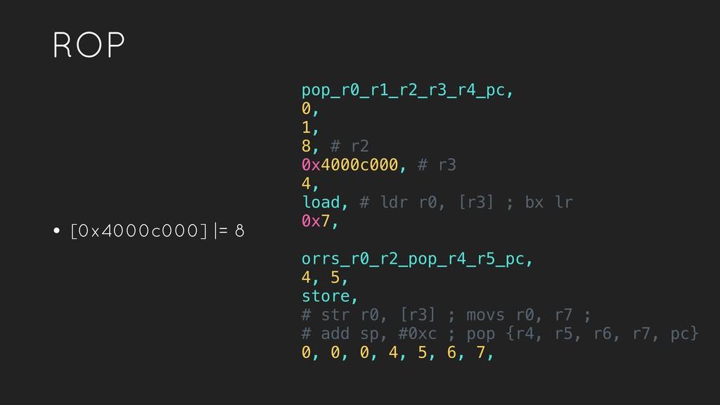ROP • [0x4000c000] |= 8 pop_r0_r1_r2_r3_r4_pc, ...