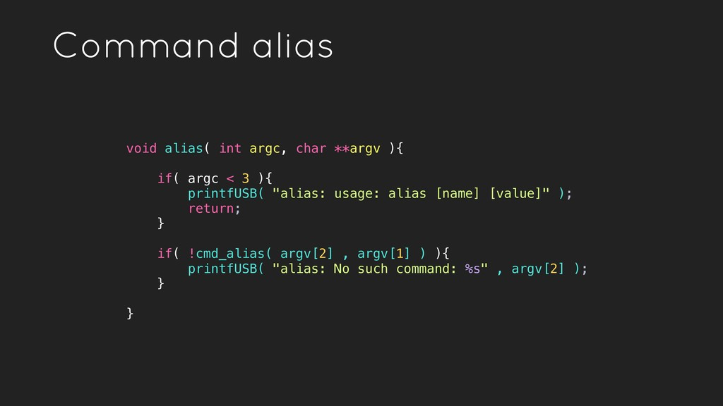 Command alias void alias( int argc, char **argv...