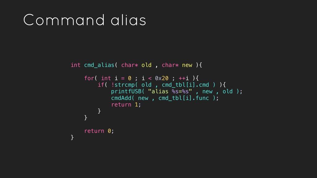 Command alias int cmd_alias( char* old , char* ...