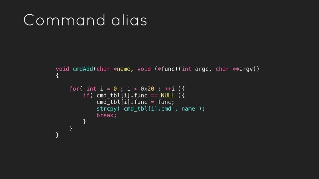 void cmdAdd(char *name, void (*func)(int argc, ...