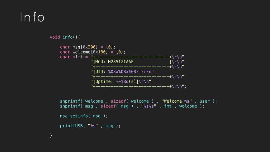 Info void info(){ char msg[0x200] = {0}; char w...
