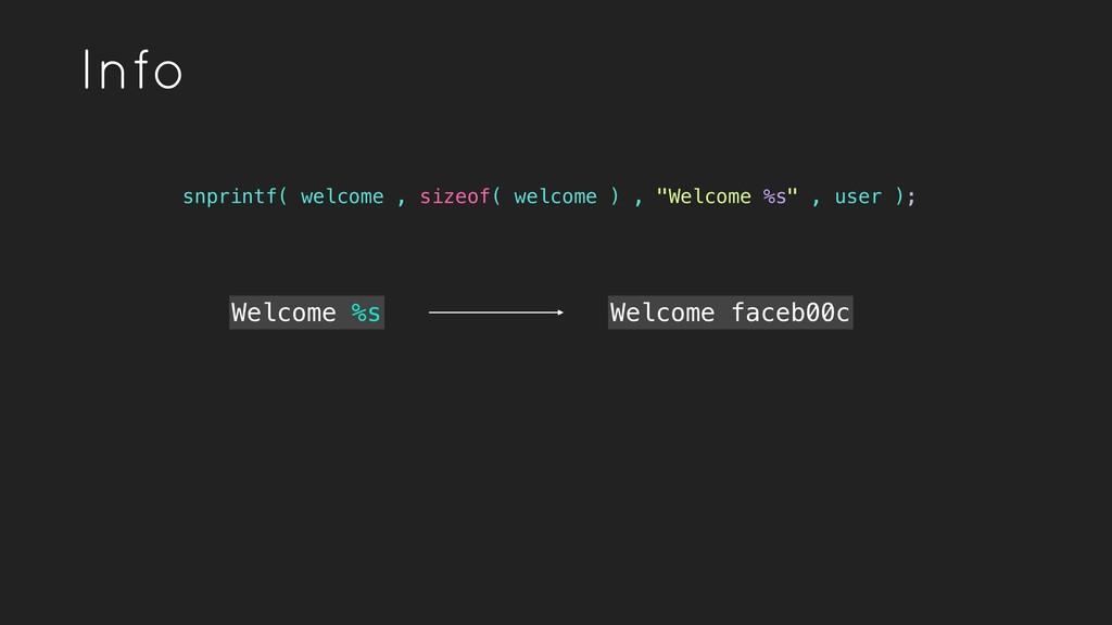 Info Welcome %s snprintf( welcome , sizeof( wel...