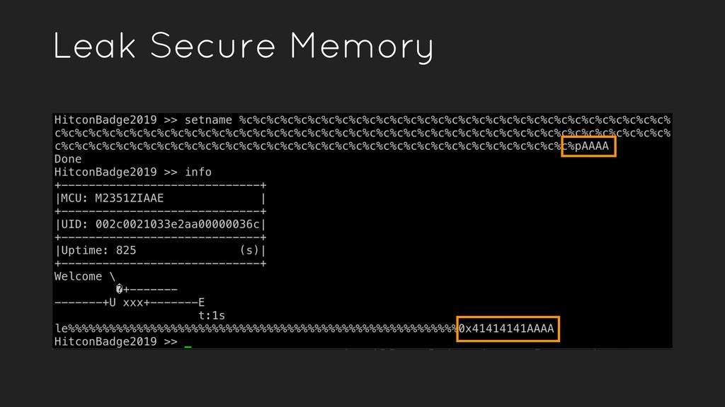Leak Secure Memory