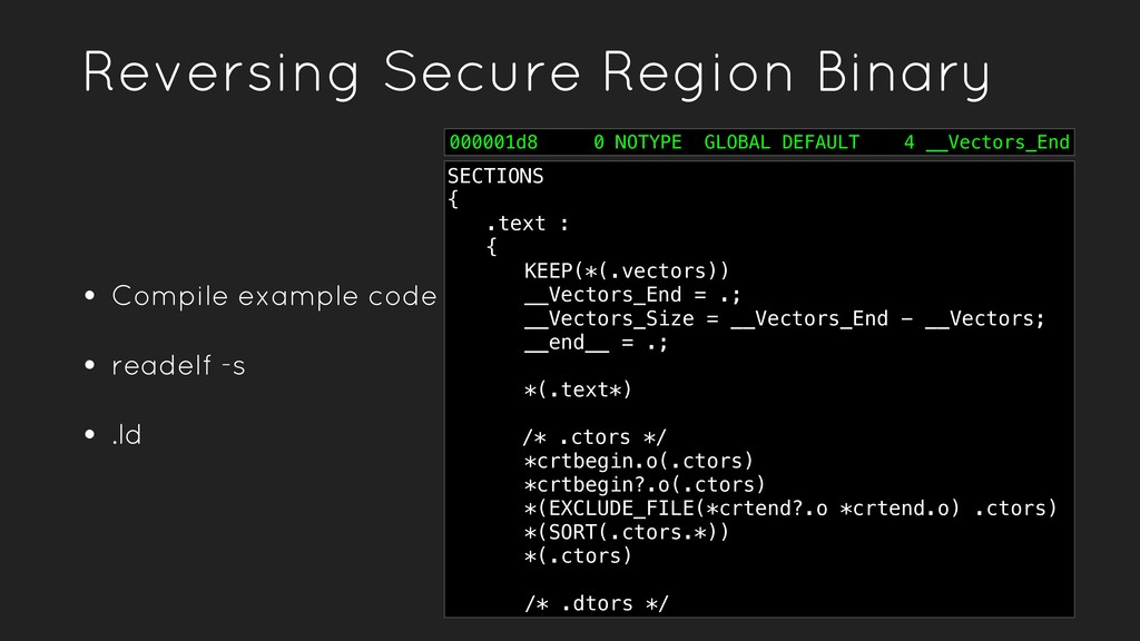 Reversing Secure Region Binary • Compile exampl...