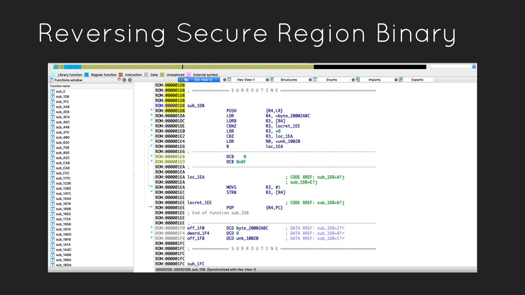 Reversing Secure Region Binary