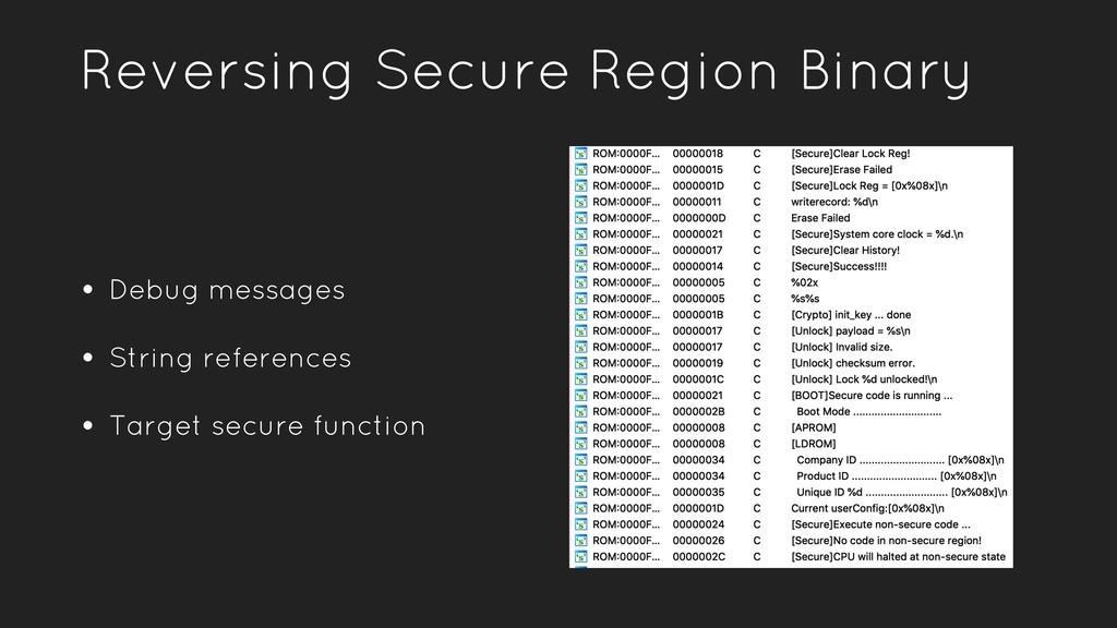 Reversing Secure Region Binary • Debug messages...