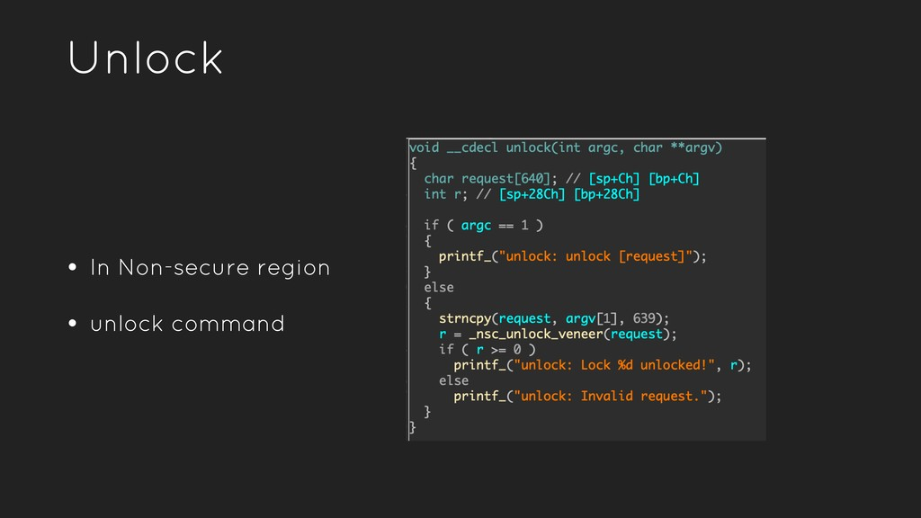 Unlock • In Non-secure region • unlock command