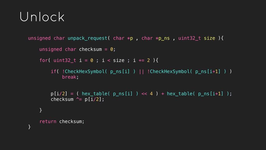 Unlock unsigned char unpack_request( char *p , ...