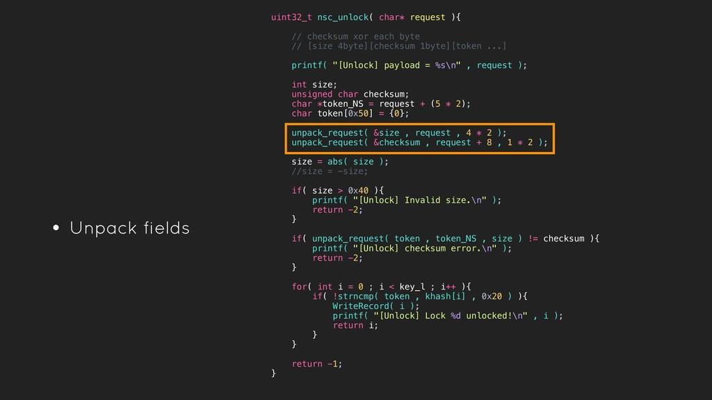 • Unpack fields uint32_t nsc_unlock( char* requ...