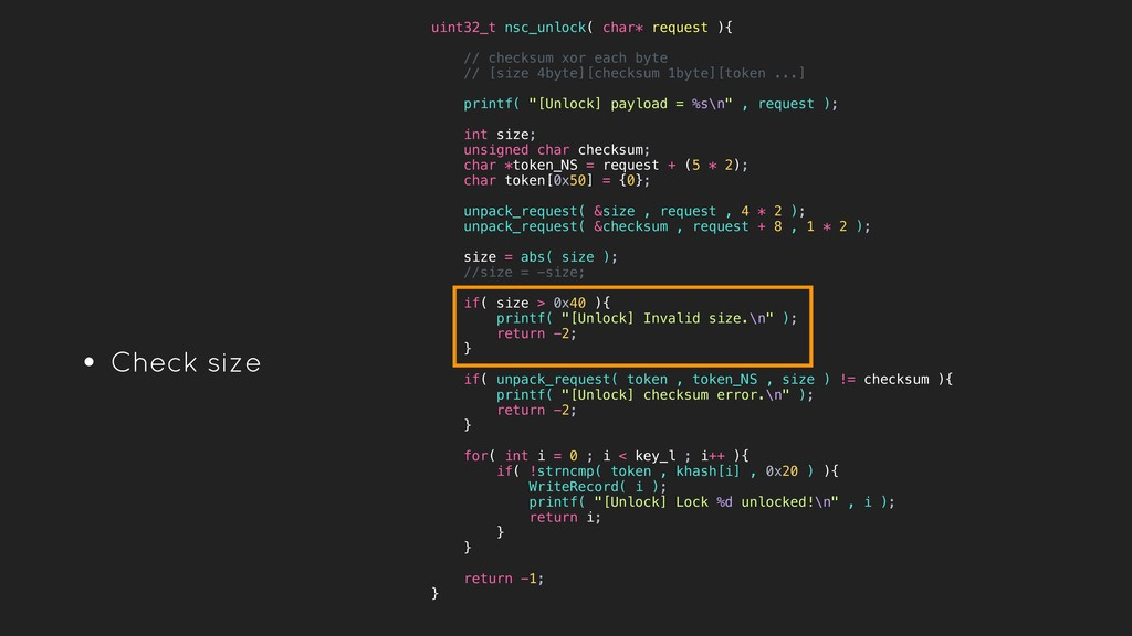 • Check size uint32_t nsc_unlock( char* request...