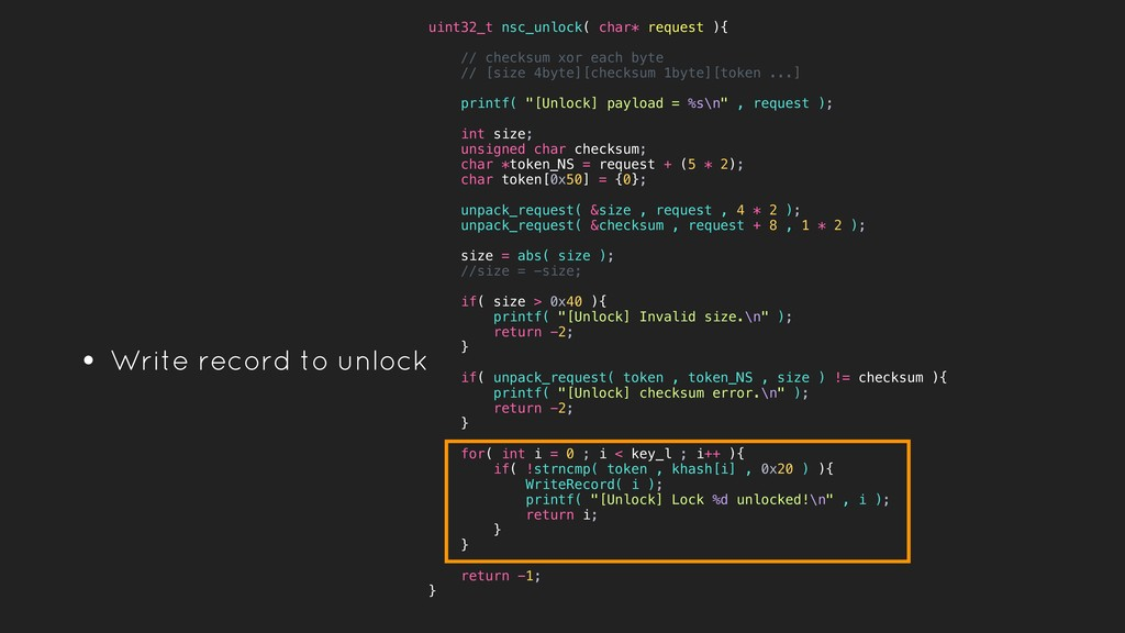 • Write record to unlock uint32_t nsc_unlock( c...