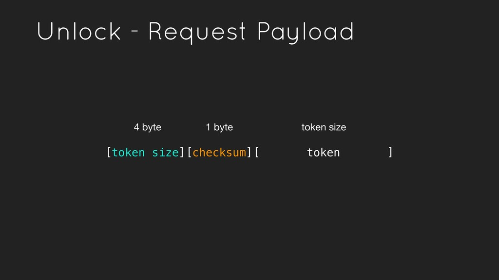 Unlock - Request Payload [token size][checksum]...