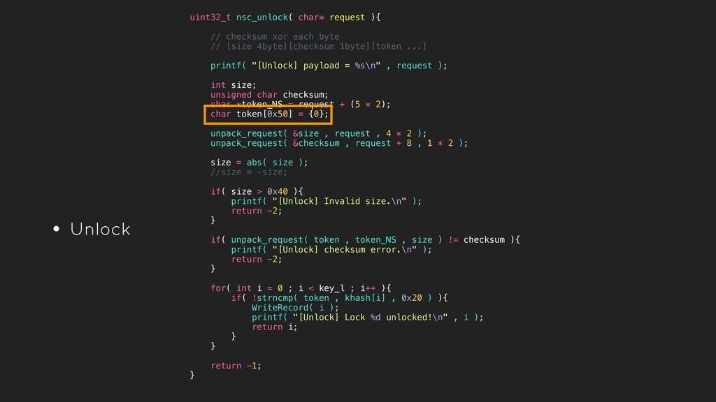 • Unlock uint32_t nsc_unlock( char* request ){ ...