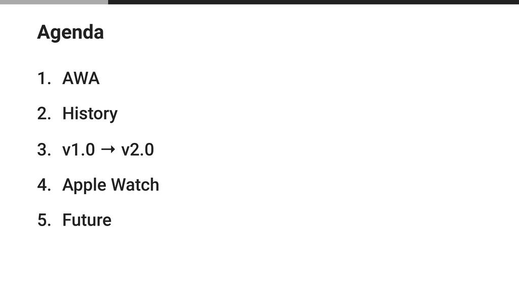 Agenda 1. AWA 2. History 3. v1.0 → v2.0 4. Appl...
