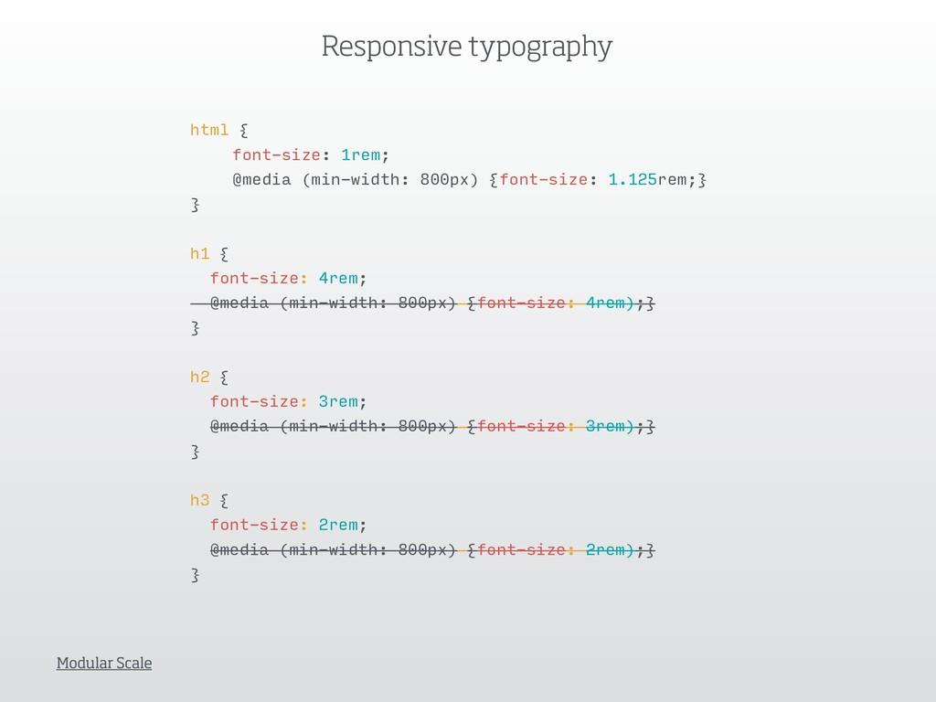 html { font-size: 1rem; @media (min-width: 800p...