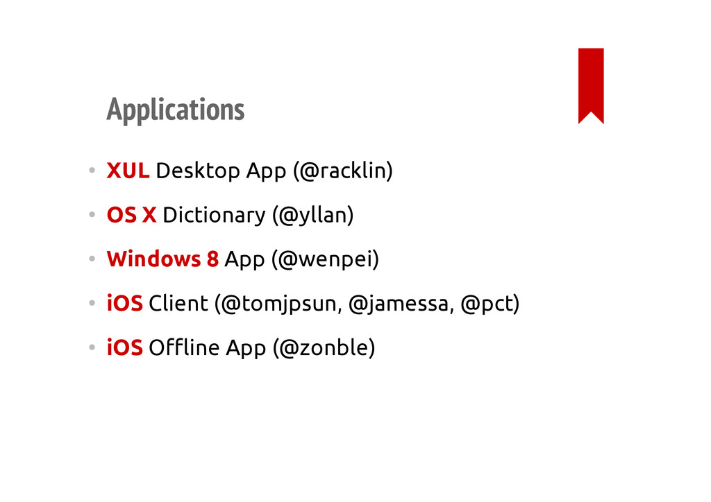 Applications • XUL Desktop App (@racklin) • OS ...