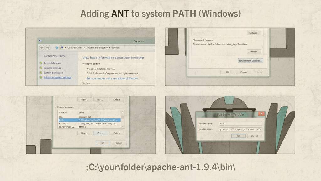 Adding ANT to system PATH (Windows) ;C:\your\fo...