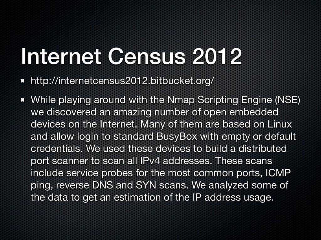 Internet Census 2012 http://internetcensus2012....