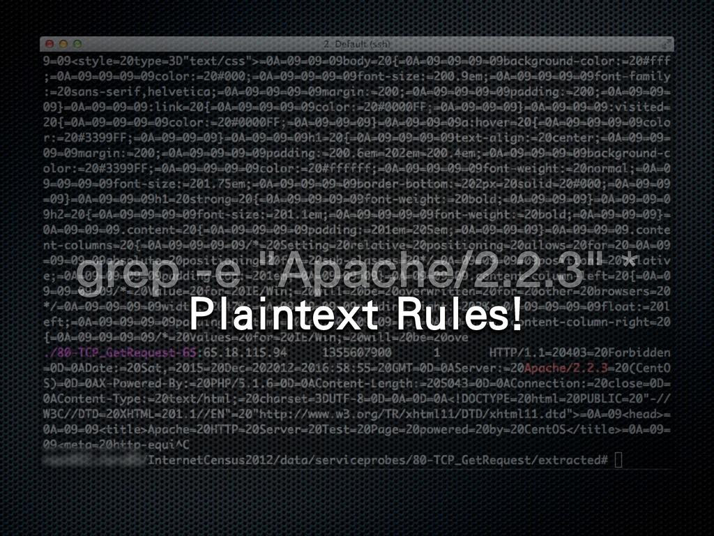"""grep -e """"Apache/2.2.3"""" * 1MBJOUFYU3VMFT"""