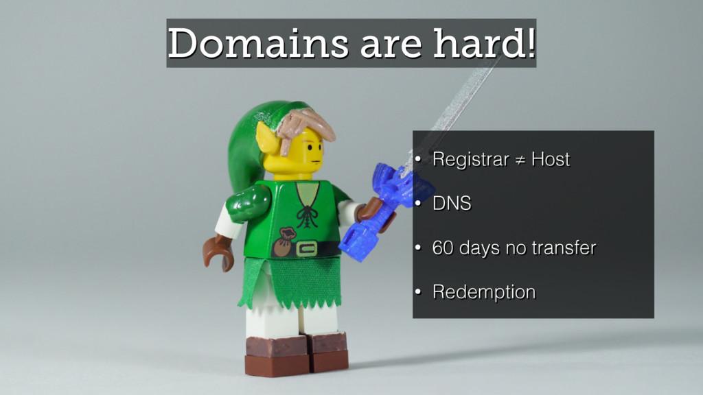 Domains are hard! • Registrar ≠ Host • DNS • 60...
