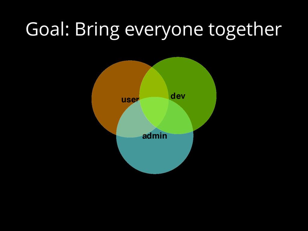 Goal: Bring everyone together user admin dev