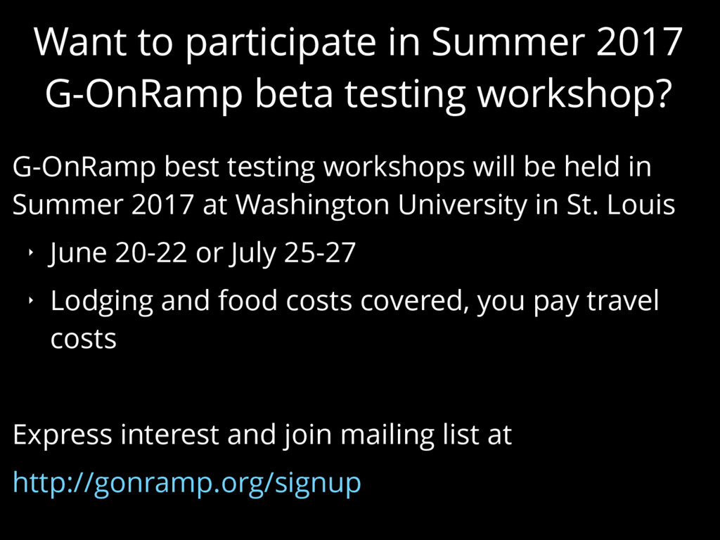 Want to participate in Summer 2017 G-OnRamp bet...