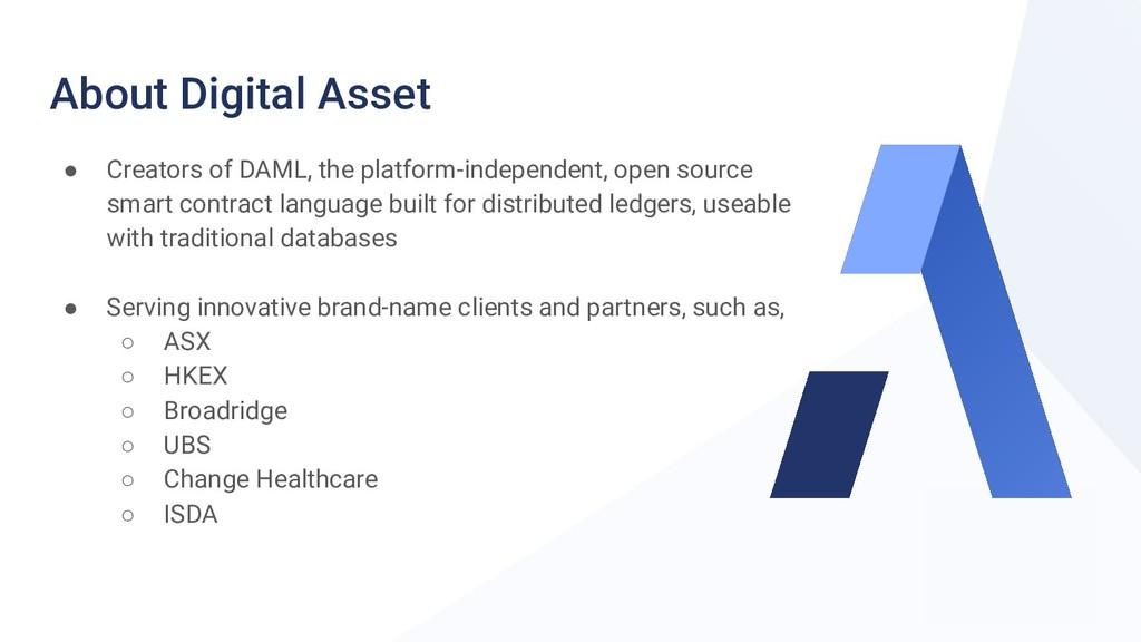 About Digital Asset ● Creators of DAML, the pla...