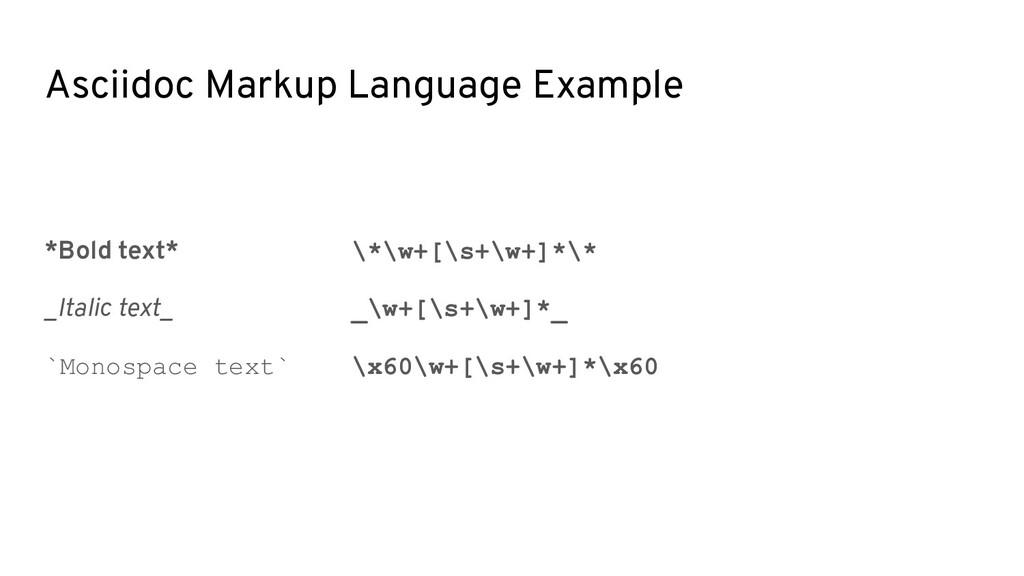Asciidoc Markup Language Example *Bold text* \*...