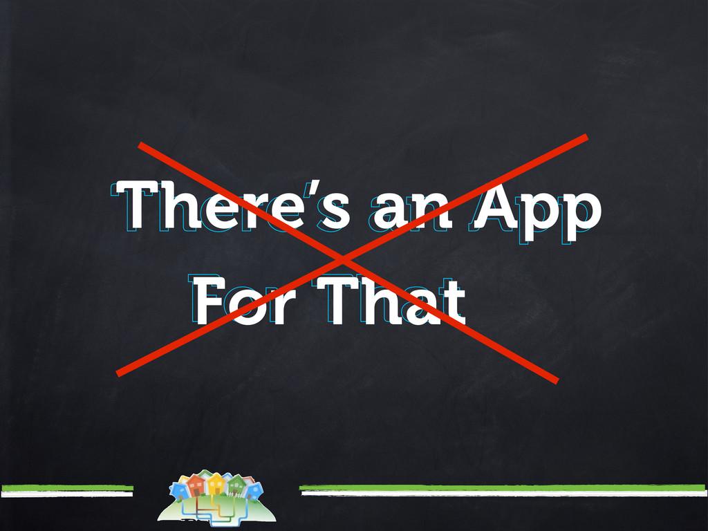 There's an App There's an App For That For That