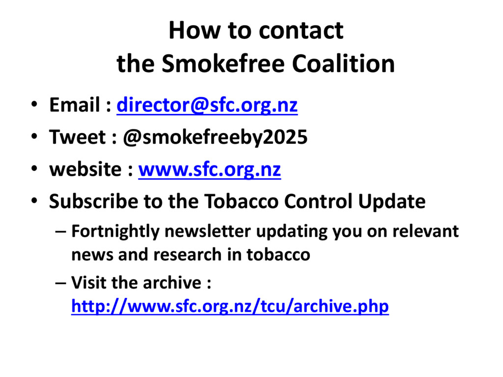 How to contact the Smokefree Coalition • Email ...
