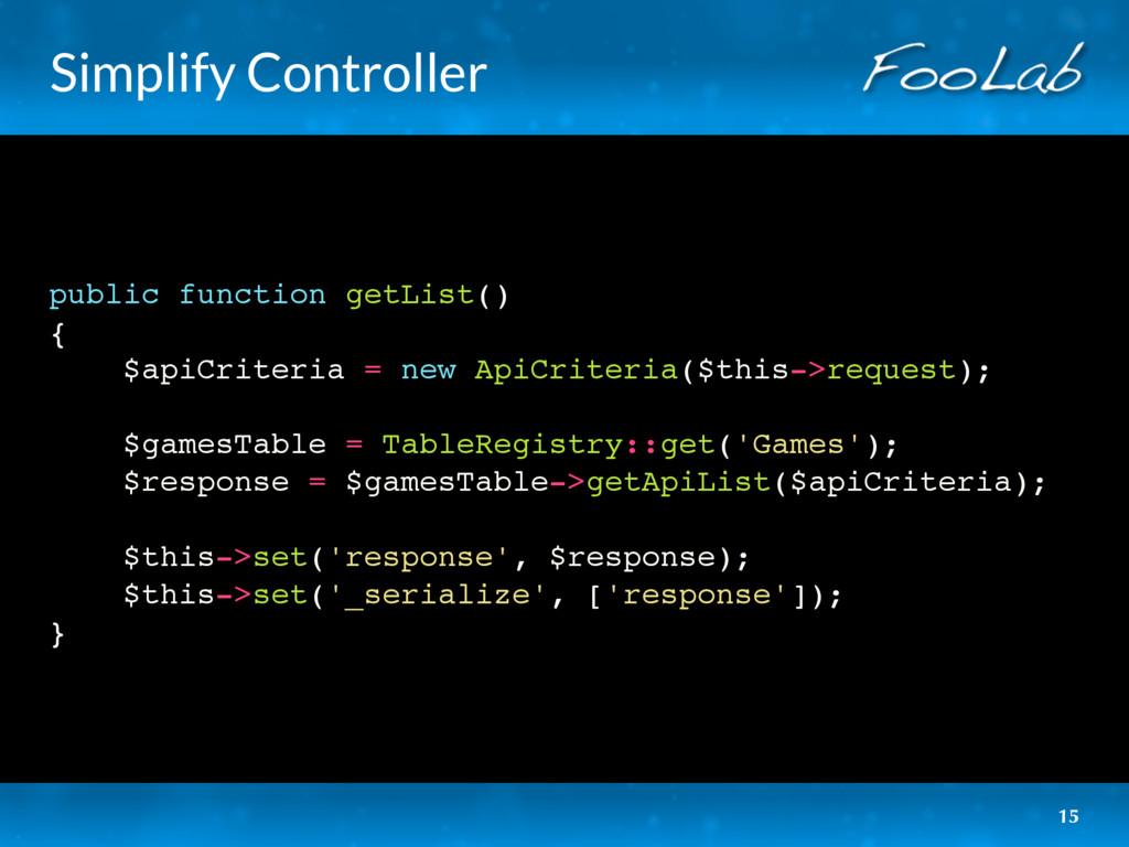 Simplify Controller public function getList() {...