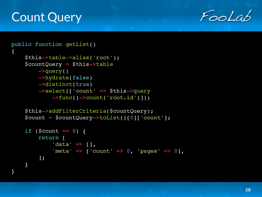 Count Query public function getList() { $this->...