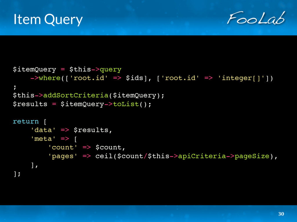 Item Query $itemQuery = $this->query ->where(['...