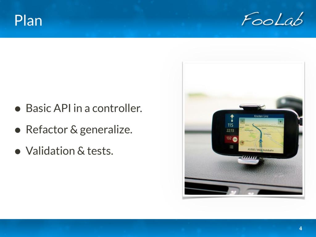 Plan • Basic API in a controller. • Refactor & ...