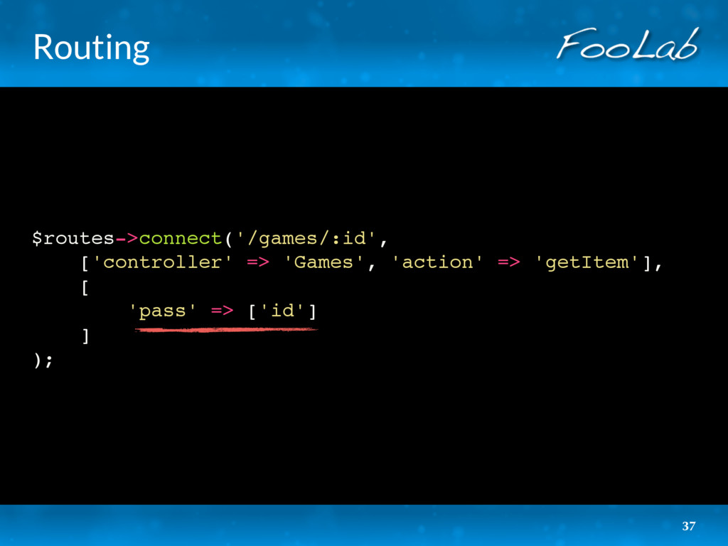Routing $routes->connect('/games/:id', ['contro...