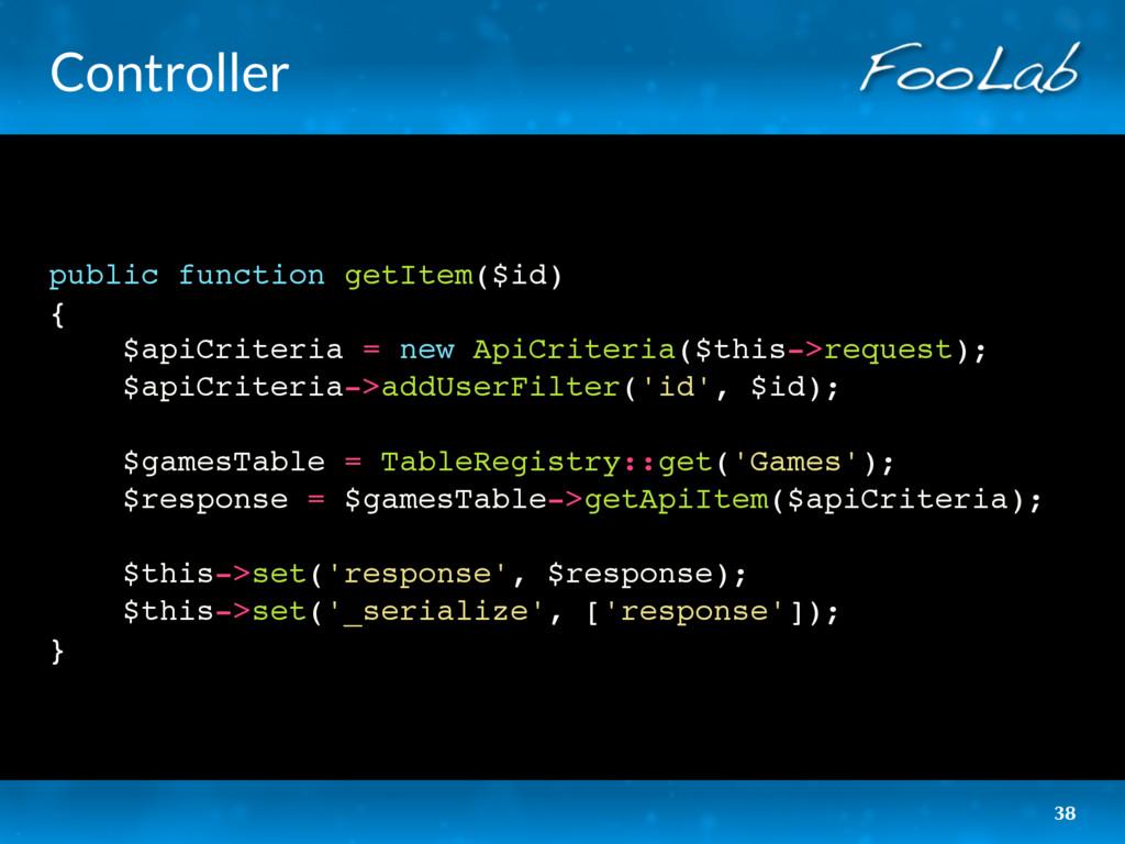 Controller public function getItem($id) { $apiC...